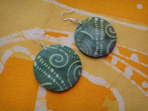 Rain Forest Batik Fabric Earrings African Wax Print Tie Dye Hippie Boho