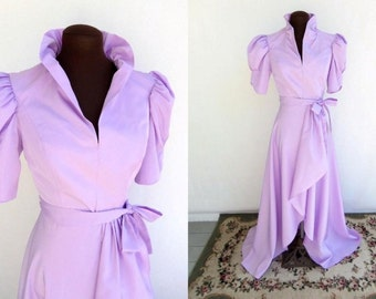 Vintage 80s Gown Formal Dress in Lilac Taffeta Size XS  New with Tags Prom Princess NOS