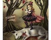 Steampunk Little Red Riding Hood - Fairy Tale Illustration- FANTASY ART PRINT