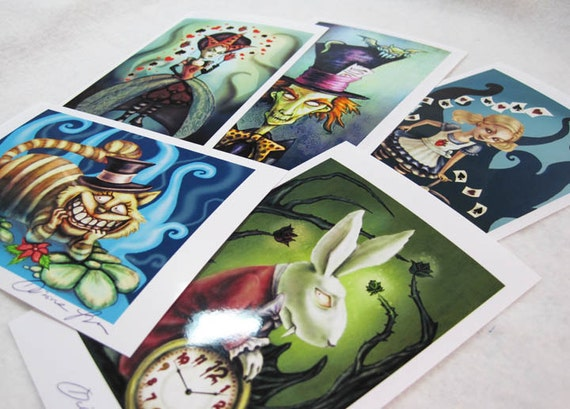 il 570xN.426938033 sa4d Alice in Wonderland Art Prints: 5 mini prints in a set