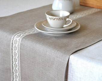 Runners runner linen table Runner Gray Lace Linen  Natural  Linen  Runner Table Table Table