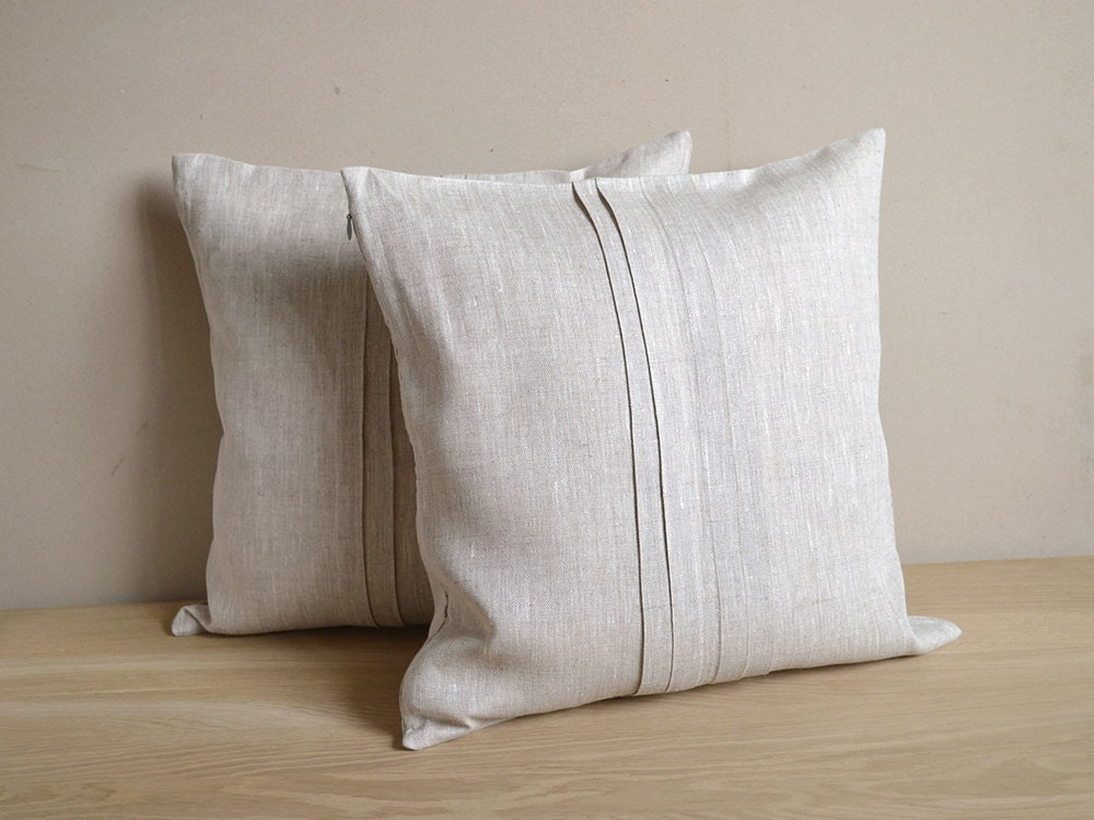 Tan Linen Throw Pillow : Linen Pillow Cover Tan Cushion Case Natural With Folds Out