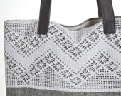 Tweed & Lace Bag, Leather Handles