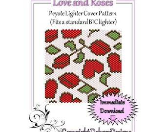 Bead Pattern Peyote(Lighter Cover)-Love and Roses