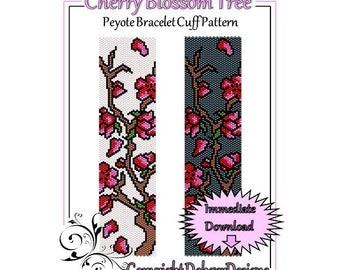 Bead Pattern Peyote(Bracelet Cuff)-Cherry Blossom Tree