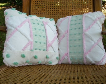 SHABBY CHIC Patchwork VINTAGE Chenille Green & Pink Pillow Set