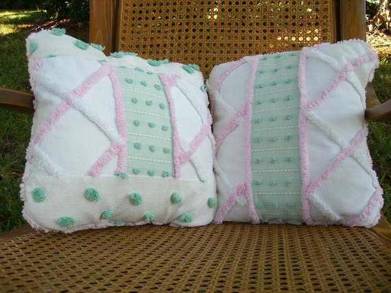 Shabby Chic Chenille Pillows : SHABBY CHIC Patchwork VINTAGE Chenille Green & Pink Pillow Set