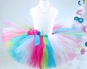 Hot Pink Turquoise and Lime Birthday Tutu with optional flower clip and headband...Baby, Girls, Adult Women. . . CELEBRATION