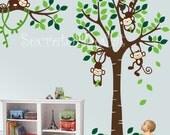 Wall Decals Nursery - Nursery wall decal - Tree and Monkeys Decals - Baby Tree Decal - Monkey Decal - Nursery