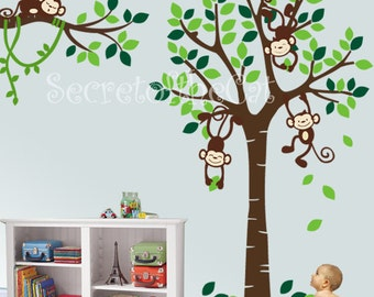 Wall Decals Nursery - Nursery wall decal - Tree and Monkeys Decals - Baby  Tree Decal - Monkey Decal - Nursery