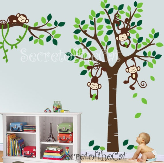 Wall Decals Nursery Nursery Wall Decal Tree And Monkeys - Wall decals in nursery