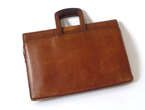 Vintage Tan Leather Portfolio ... Lawyer Bag, Salesman Bag, Attache, Handled Briefcase, Brown Leather