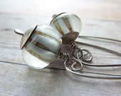 Sterling Silver Drop Earrings Lampwork Beads Natural Color Long Neutral Boho Bohemian Contemporary - ATwistOfWhimsy