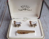 Covered Wagon Cuff Links and Tie Bar