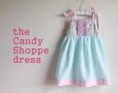 Turquoise Seersucker & Bright Floral baby, toddler, and girls shoulder tie dress, Size Newborn thru girls 6
