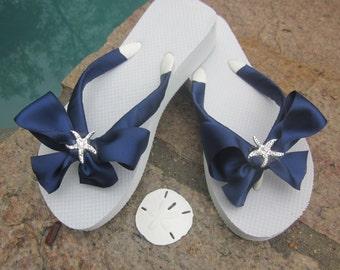 Bridal Flip Flops/Wedges.Wedding Sandals.Blue Flip Flops.Beach Wedding.Wedding Accessories.Bridal BOWz Flip Flops.Starfish Flip Flops.