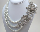 Custom order for Michelle - Statement Bridal Necklace, Multi Strand Pearl Necklace, Wedding Bridal Jewelry - PN12 Made to Order