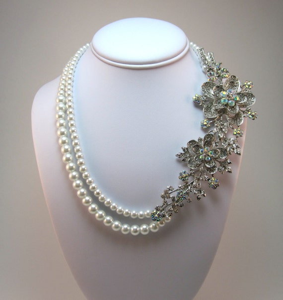 Bridal Statement Necklace, Rhinestone Pearl Necklace, Wedding Necklace, Bridal Necklace, Swarovski Crystal Necklace