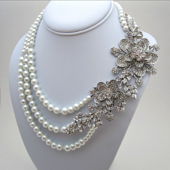 Statement Bridal Necklace Multi Strand Pearl By