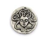Green Girl Studios Medusa Coin Pendant Pewter