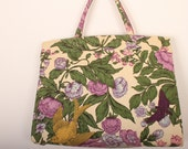Vintage 1960s Handbag / 60s  Margaret Smith Purse  / Purple Floral Canvas - ladyscarletts