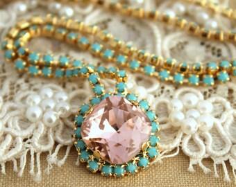 Blush Pink Necklace Pink Turquoise Swarovski necklace Bridal necklace wedding jewelry Bridesmaids Necklaces Vintage Pink Crystal Necklace