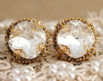 Bridal earrings Clear Crystal stud gold swarovski earrings,bridesmaids earrings - 14 k plated gold post earrings real swarovski rhinestones.