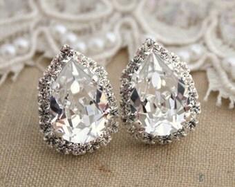 Silver Bridal wedding earrings Drop Swarovski Crystal earrings teardrop stud earring , bridesmaids earrings-silver plated genuine crystals