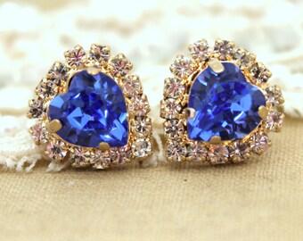 Sapphire Heart stud Blue Rhinestone earring - 14k 1 micron Thick plated gold post earrings real swarovski rhinestones.