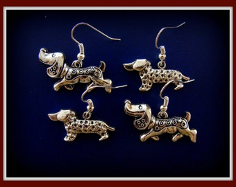 TWO PAIR of DACHSHUND Dog Pup Earrings Jewelry - Doxie Sausage Weiner Puppy