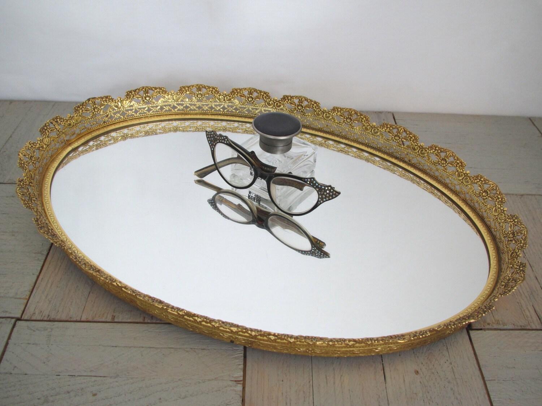 Vintage Gold Mirror Tray Ornate Gold Tray Vanity