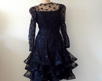 Scaasi Cocktail Dress / Black Polka Dot Party Dress / 1980s Designer Vintage