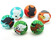 Dog Buttons / Fabric Shank Button / Flat Back Craft Buttons / DIY Hair Accessories /  Pushpin / Magnet / 6 pcs 42