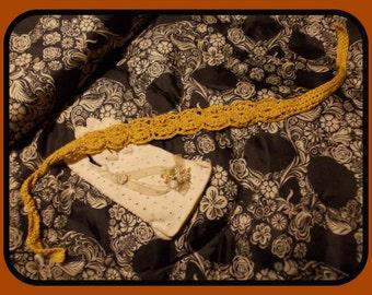 Mustard Lace Headband- hemp & cotton
