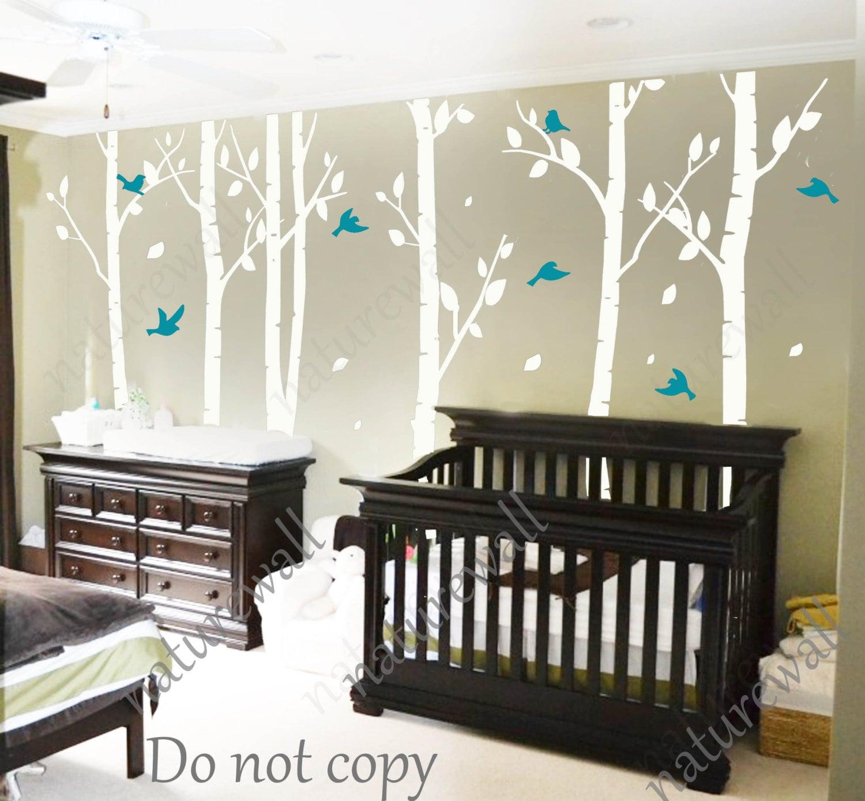 White Nursery Wall Decor : White birch tree decals nursery kids wall by naturewall