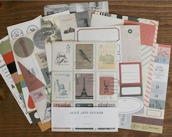 12 Sheets Korea Vintage Paper Deco Sticker Stamp