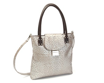 SPECIAL,Silver Metallic and Chocolate Ostrich Embossed Leather Jenna,  Double Handle and Shoulder Strap