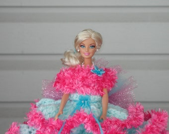 BARBIE Doll / toilet paper doll/ light turquoise/neon pink trim