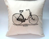 14X14 Hipster Vintage Bicycle Pillow Slip Cover, Shabby Chic Home Decor, Throw Pillow, Pillow Case, Black and Cream, Typography, 70s 80s