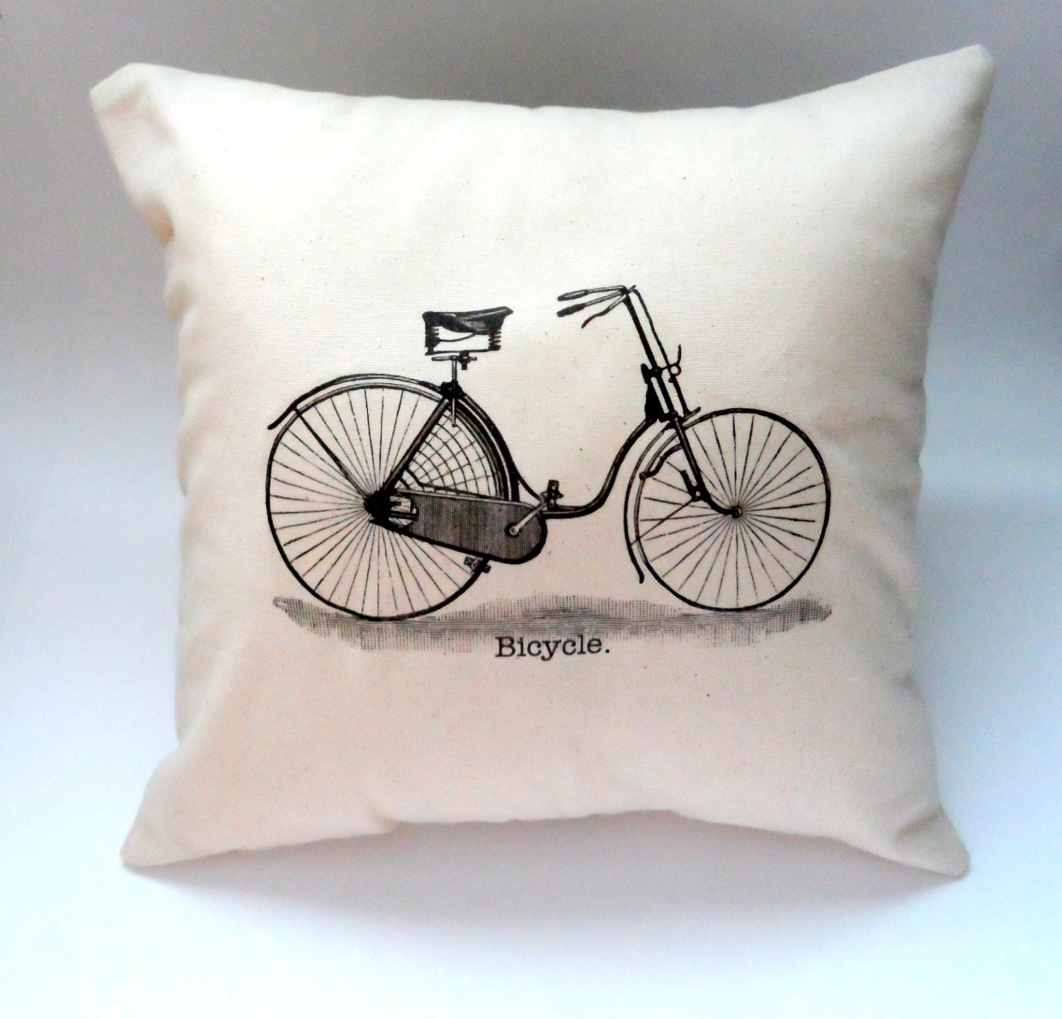 14X14 Hipster Vintage Bicycle Pillow Slip Cover Shabby Chic