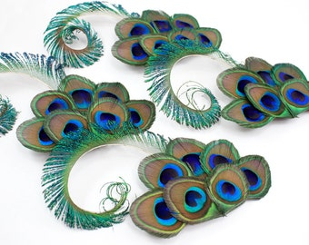 4 Peacock bridesmaid clips - Graceful - Bridesmaid gift / Wedding hair clips / Hair accessory set of 4