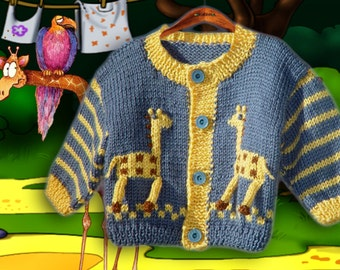 Cardigan with giraffe in country blue and gold. In size for newborn, reborn little boy.