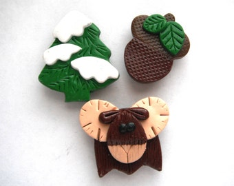 Magnets Woodland Moose handmade polymer clay magnets ( 3 )