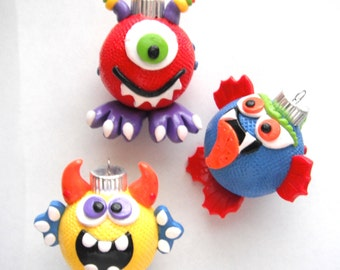 Ornaments Little Monsters handmade glass polymer clay christmas ornaments ( 3 )