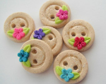 Button Sandy Beach and Flowers handmade polymer clay buttons ( 6 )