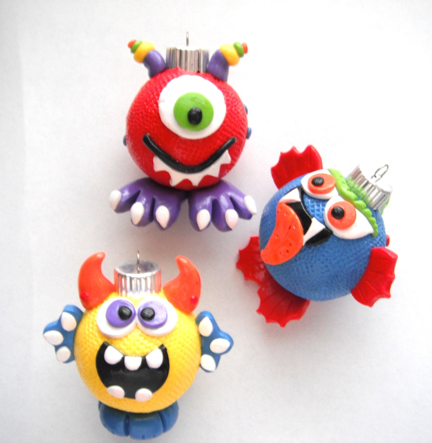 Handmade glass christmas ornaments - Ornaments Little Monsters Handmade Glass Polymer Clay Christmas Ornaments 3 Zoom
