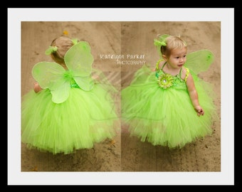 Tinkerbell Tutu Dress - Halloween or Birthday Costume - Green - Fairy Princess -Size 7/8