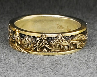 14k Gold PEAKS, PINES, and RIVERS - A Wedding Band in Yellow, White, or Rose Gold