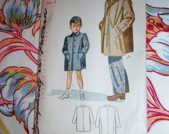 """Vintage 1944 Simplicity Pattern 1101 for Boy's Coat and Cap, Size 6, Chest 24"""", Waist 22"""""""