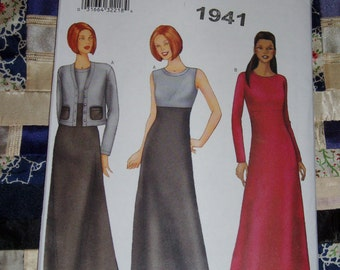 2000 Butterick Pattern 6763 for Misses Petite Cardigan and Dress Size  6, 8, 10, Uncut, Factory Folds